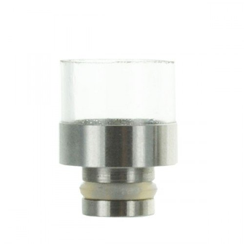 Drip tip short wide bore pyrex/acier