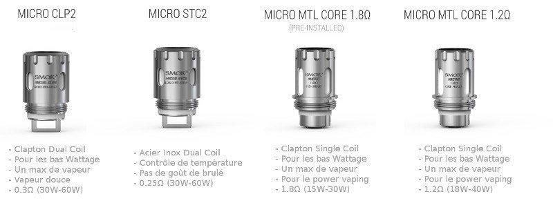 Résistances pour atomiseur TFV4 Micro de chez Smoktech